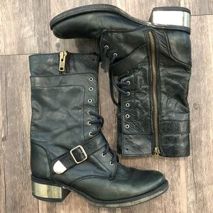 Steve Madden 100% Leather Combat Boots Gold Detail